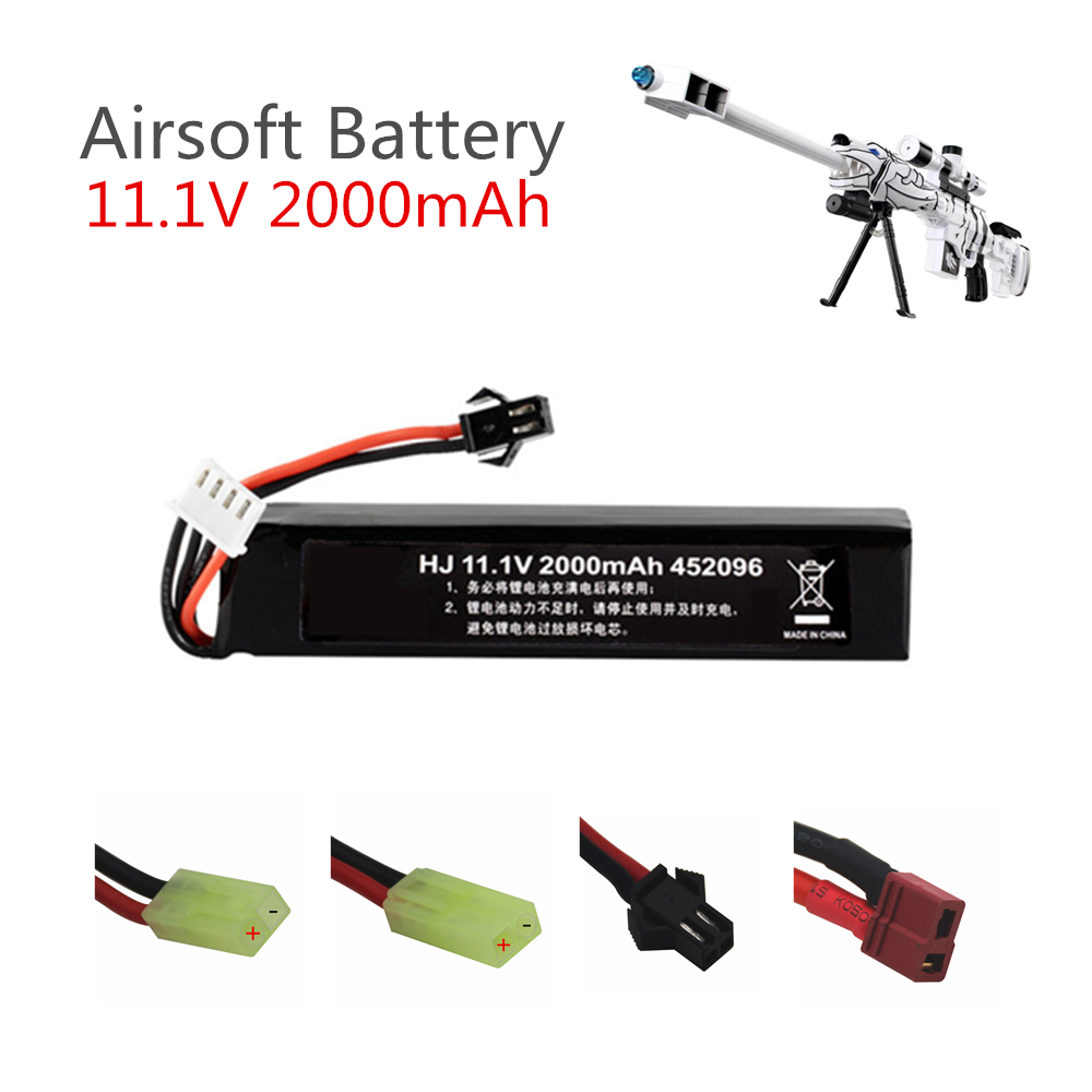 11.1v <font><b>Lipo</b></font> Battery for Water Gun Airsoft 11.1V <font><b>3S</b></font> <font><b>2000mAh</b></font> 30C 452096 battery for Airsoft BB Air Pistol Electric Toys Guns Parts image