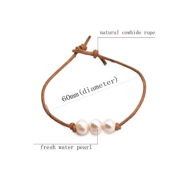 Glseevo настоящий жемчужный белый кожаный браслет для женщин
