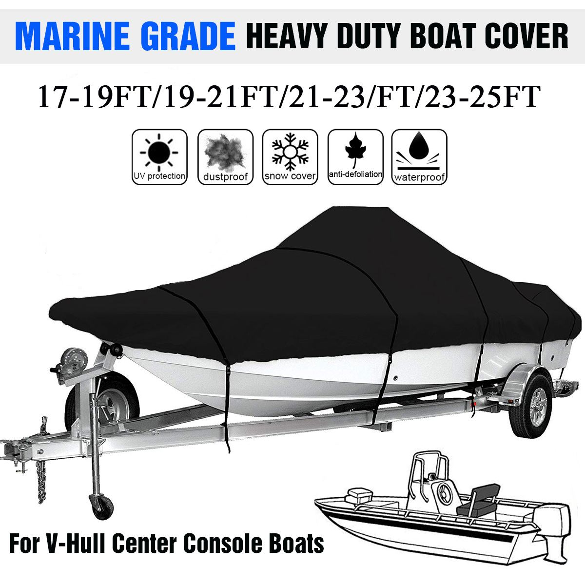 17-25ft Marine Grade 210D Trailerable Boat Cover Waterproof Fishing Ski V-Hull Sunproof Anti UV Heavy Duty Boat Mooring Cover