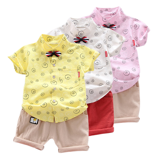 Boy Clothes Outfits Kids Baby Boys Short Sleeve Floral Pattern T-shirt Blouse+Shorts Casual Costume Set 26