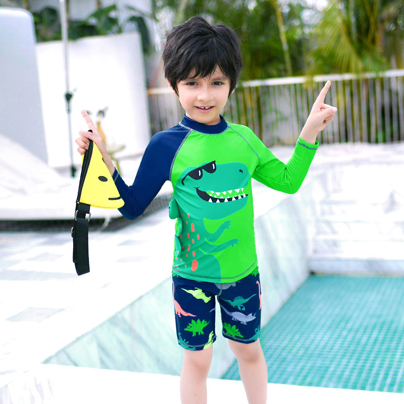 2019 New Style Hot Sales CHILDREN'S Swimwear Split Long Sleeve Shorts Sun-resistant Cartoon Ultra-stretch Quick-Dry Handsome BOY