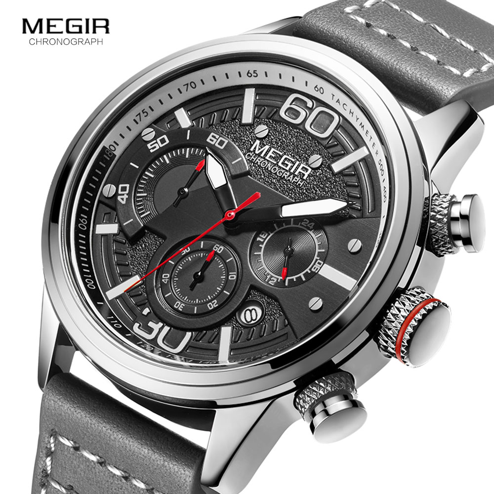 MEGIR Men Chronograph Watches Luxury Leather Strap Quartz Watch Man Waterproof Military Sport Wristwatch Relogio Masculino 2110