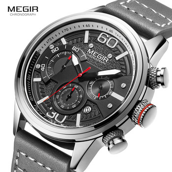 MEGIR Men Chronograph Watches Luxury Leather Strap Quartz Watch Man Waterproof Military Sport Wristwatch Relogio Masculino 2110 genuine guanqin luxury brand gs19078 chronograph creative quartz watch men military sport leather wristwatch relogio masculino