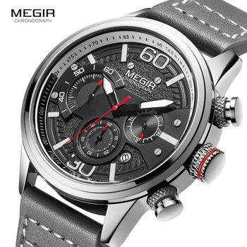 цена на MEGIR Men Chronograph Watches Luxury Leather Strap Quartz Watch Man Waterproof Military Sport Wristwatch Relogio Masculino 2110