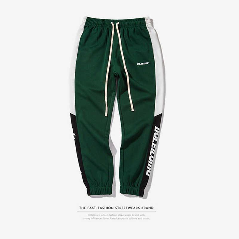 Şişirme erkek giyim pantolon erkekler 2020 yeni sonbahar erkek Sweatswear pantolon baskı yan şerit cepler erkekler Vintage Sweatpants 353W17