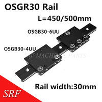 30mm breite Aluminium roller linearführungsschiene externe dual achse linear guide 1 stücke OSGR30 L = 500mm + 1 stücke OSGB30UU block