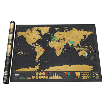 Deluxe Erasable World Travel Map Scratch Off Personalized 42*30cm Creative Decoration Wall Stickers