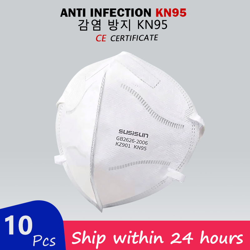 10PCS N95 5 Layers Mask Anti Virus Flu Anti Infection KN95 Mouth Masks Protective Face Masks Same As KF94 FFP2 Fast Shipping