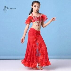 Image 4 - Dziewczyny brzuch kostium taneczny najnowszy 2 sztuk/zestaw biustonosz + spódnica odzież Bellydance dzieci orientalny spektakl taneczny taniec dla dziecka
