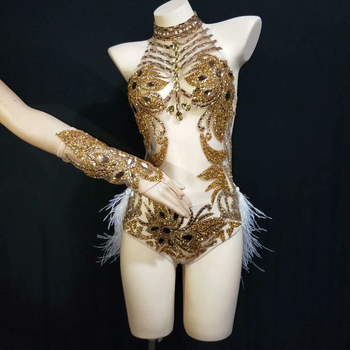 Sparkly Gold Silver Rhinestone Bodysuit Women Sexy See Trough Feather Tail Birthday Party Nightclub Singer Dance Stage costume
