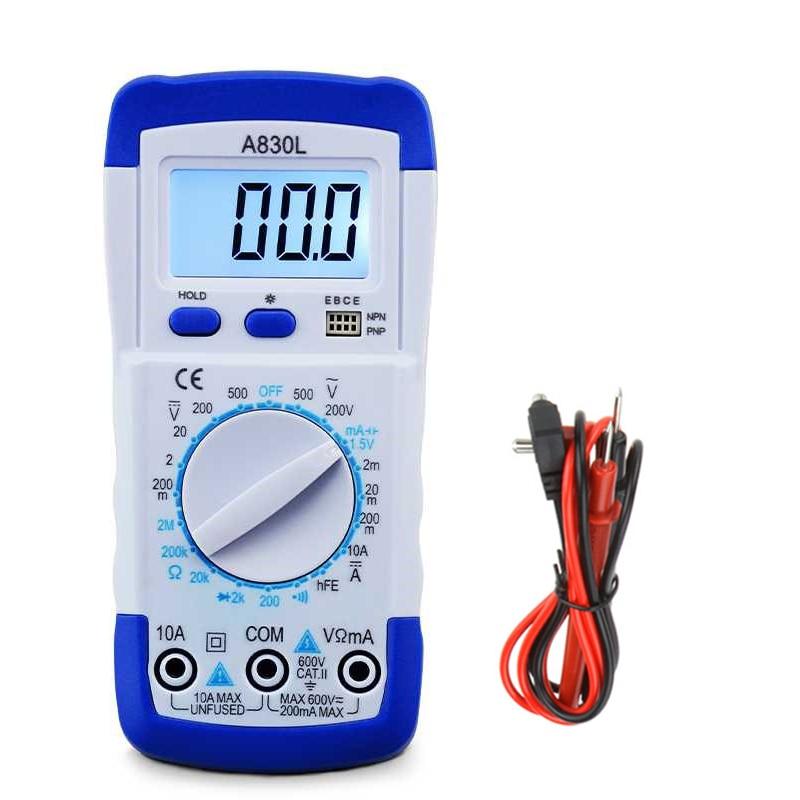 Junejour A830L LCD Digital Multimeter Portable DC AC Voltage Freguency Multitester Handheld Volt Tester Test Current Ohmmeter