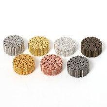 20 piezas 25mm oro rodio Metal hueco flor filigrana envuelve conectores planos para dijes colgante Diy joyería hacer hallazgos