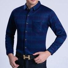 Winter Men Business Smart Casual Shirts Blue Purple Plaid Pattern Cashmere Wool Thicken Fleece Tops Male Warm Blouse Plus Size
