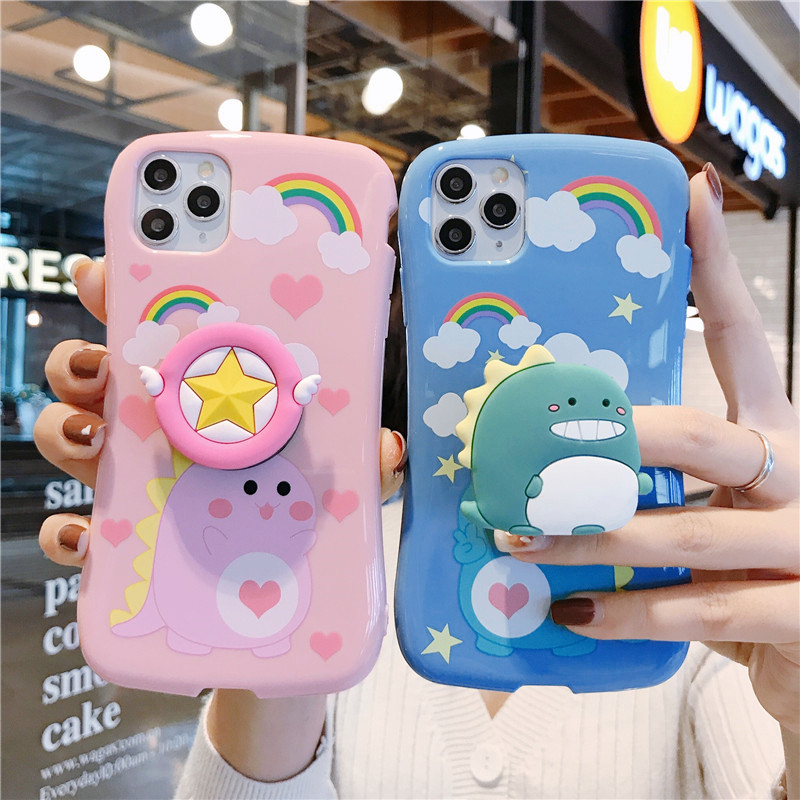 3D Korean Cute Cartoon Dinosaur Holder Stand Silicone Soft Phone Case For Iphone X XR XS MAX 6S 7 8 Plus 11 Pro Max Coque Cover