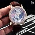 Luxus Marke Neue Männer Automatische Mechanische Uhren Silber Gold Diamanten Lünette Wasserdicht Transparent Glas Skeleton Leder Uhr