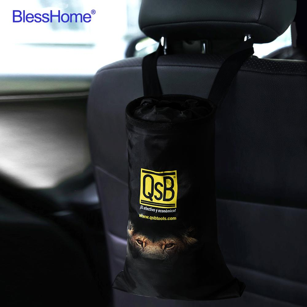 BlessHome     100pcs lot Custom Foldable Mini Car Trash Bags Car Trash Can door Eco-Friendly Seat Back Hanging Car Garbage Bag Logo