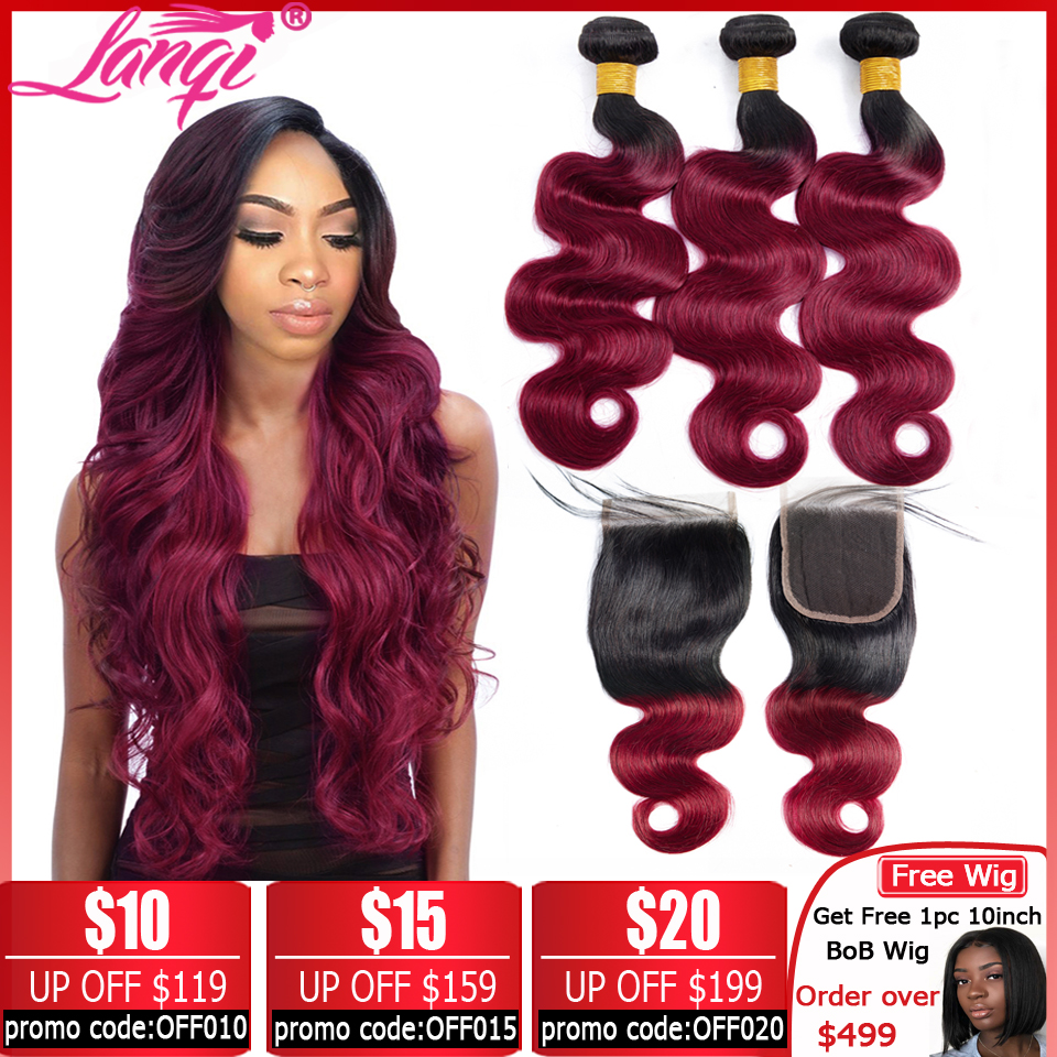 Brazilian Hair Weave 3 Bundles Burgundy Body Wave Ombre Bundles With Closure T1B/99j Human Hair Blonde Bundles With Closure