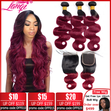 Brazilian hair Weave 3 bundles Burgundy Body Wave Ombre Bundles With Closure T1B/99j Human Hair Blonde bundles With Closure