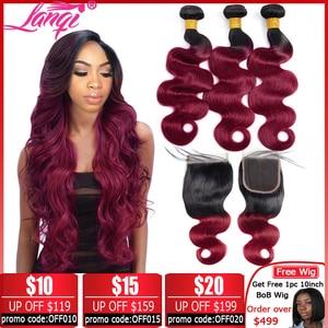 Image 1 - Brazilian hair Weave 3 bundles Burgundy Body Wave Ombre Bundles With Closure T1B/99j Human Hair Blonde bundles With Closure