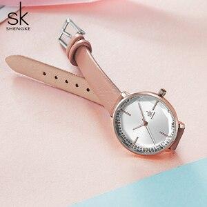 Image 5 - Shengke女性ファッションガールクォーツ時計女性革ストラップ高品質カジュアル防水腕時計ギフト妻/ママ