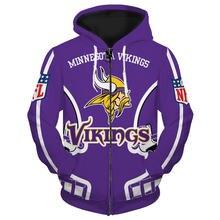 Minnesota fashionable american football vikings zipper hoodies
