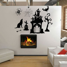 Happy Halloween Shabby Castle Poisonous Spider Grave Wall Sticker Vinyl Home Decor Living Room Party Decals Removable Mural 3733 цена 2017