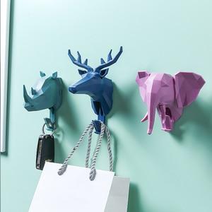 Ev dekor 3D boynuzları at fil kanca ev dekoratif hayvan tarzı duvar kaplaması tuşları tutucu giysi saklama kanca