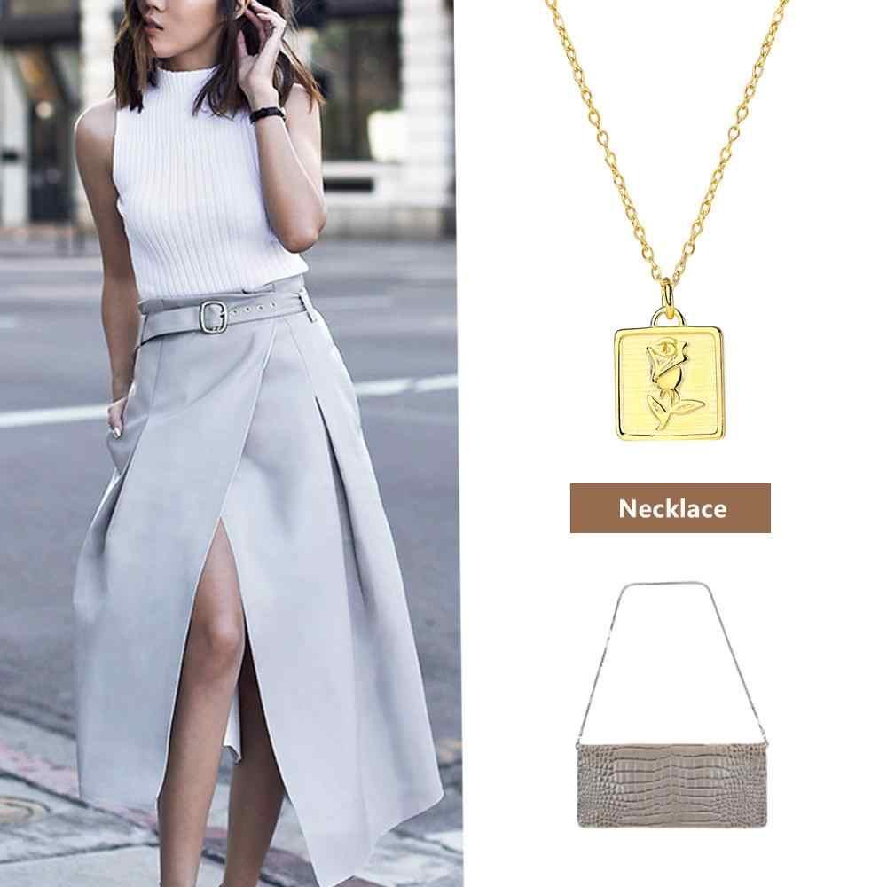 E Perhiasan 925 Sterling Perak Warna Emas Ukiran Mawar Kalung Koin untuk Wanita Retro Fashion Perhiasan Gaya Kalung Rantai 2019