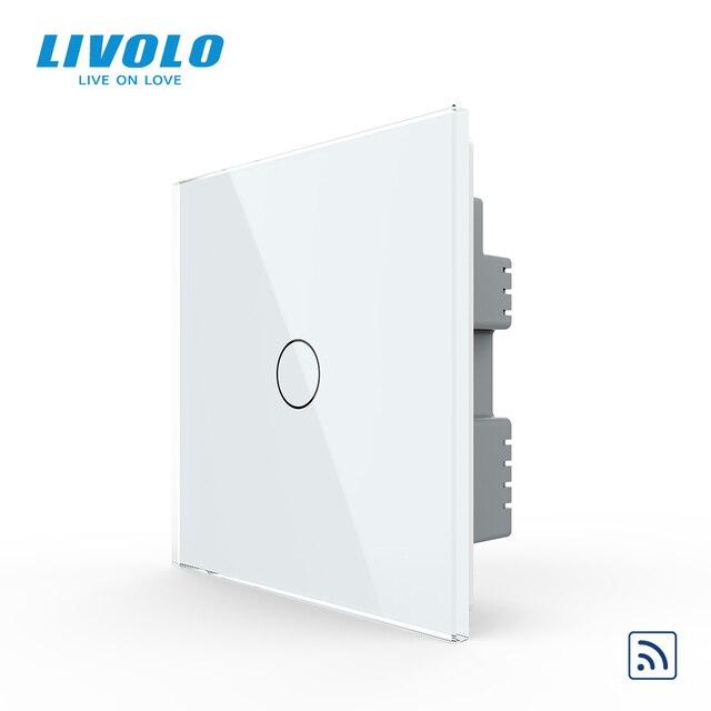 Livolo İngiltere standart 1way duvar işık uzaktan dokunmatik anahtarı, cam Panel, uzaktan kablosuz kontrol anahtarları, hayır wifi fonksiyonu