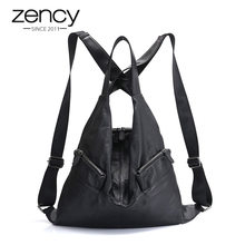 Zency Unique Style Women Backpack 100% Cowhide Genuine Leather Fashion Travel Bag Black Lady Knapsack Girl's Schoolbag Notebook(China)