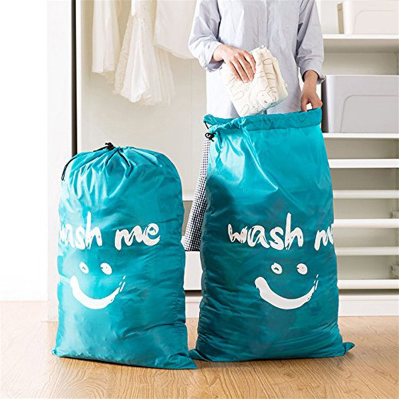 Smiley Laundry Bag Travel Dirty Clothes Storage Bag Oxford Cloth Polyester Beam Laundry Bag Multifunctional With Drawstring Lock