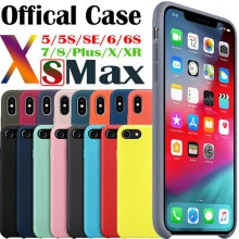 Luxury silicone case for iPhone 7 8 6 6S Plus Original official Liquid cover XR X XS Max iphone plus