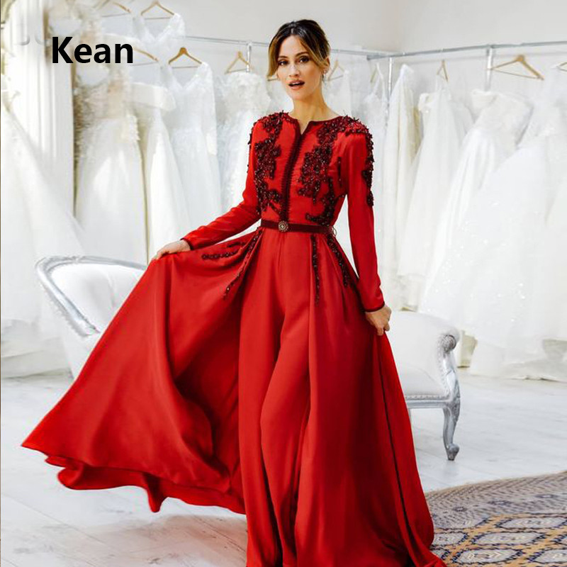 Red Muslim Evening Dress Detachable Train Pantsuits Hijab Islamic Dubai Kaftan Saudi Arabic Evening Gown Prom Dress Custom Made