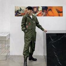 Men Japan Streetwear Vintage Fashion Casual Long Sleeve Jumpsuit Cargo