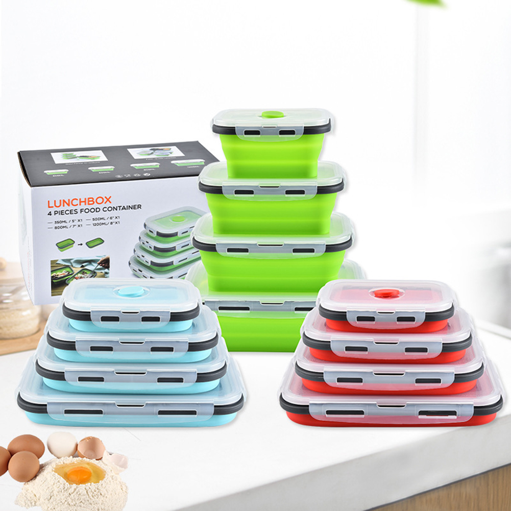 Soft Silicone Folding Lunchbox Classic Colors Simple Enduring Food Container Rectangular Eco-Friendly Lunch Box