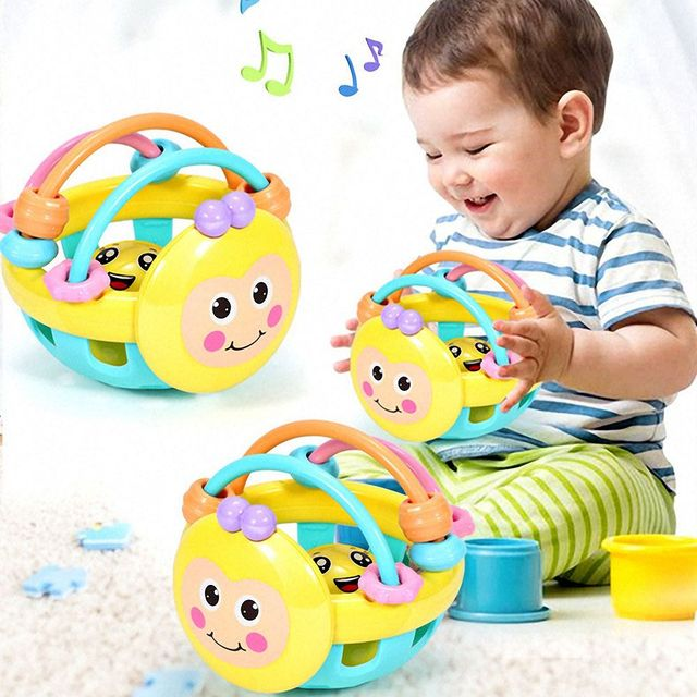 1pc Children Soft Rubber Cartoon Bee Toddler Educational Toys Interactive Rattle Baby Bed Mobile Preschool Boys Girls Music Game