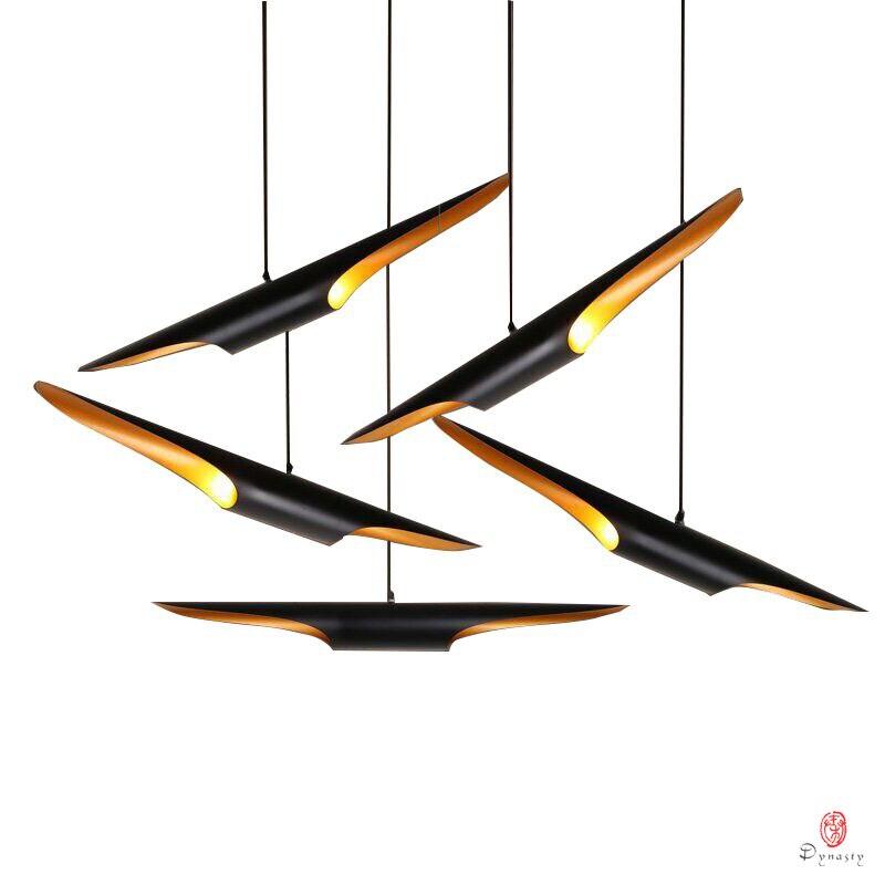 Dispositivo Elétrico de Iluminação de Alumínio moderno Loft Hanging Lamp LED Designer Longo Ouro Negro Luz Pingente Sala de Jantar Foyer Casa Decorativo