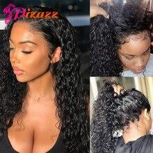 Pizazz 13x4 koronki przodu włosów ludzkich peruk dla kobiet 150% gęstość brazylijski głęboka koronkowa fala peruka Front z dzieckiem włosy wstępnie oskubane do włosów