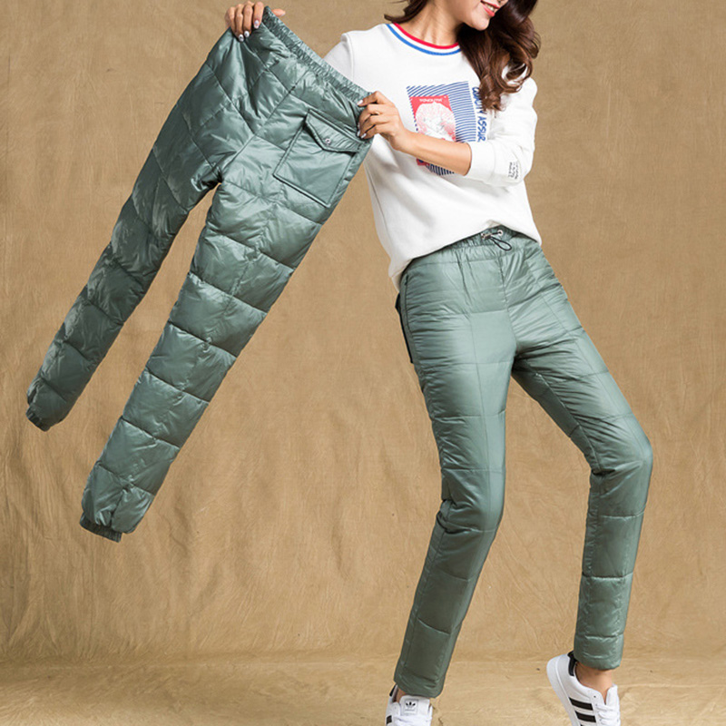 Warm Woman Down Pants Sports Winter Elastic Skinny Cut High Waist Real White Duck Down Protection Skinny Pants