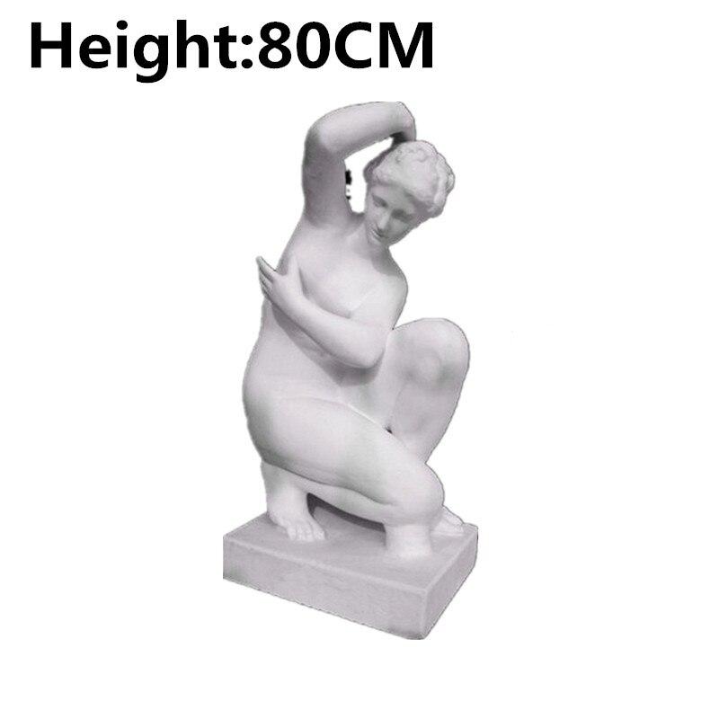 80cm Bathing Plaster Squat Venus Body Figure Geometry Woman Model Art Material Ornaments Sculpture Home Decoration M3083