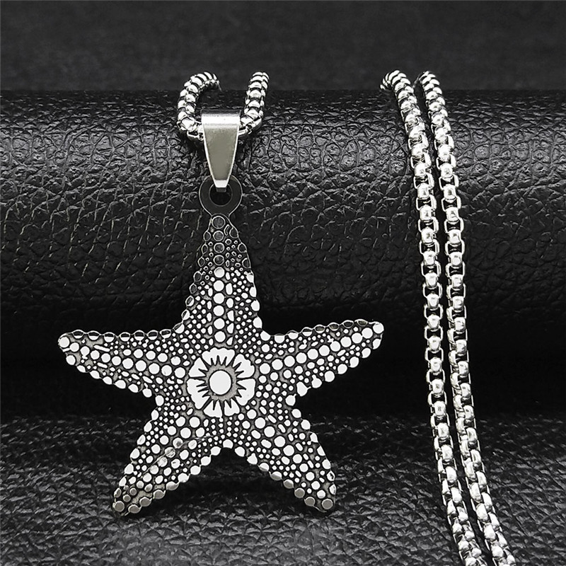 Boho Stainless Steel Starfish Pendant Necklace for Men/Women Silver Color Beach Accessories Jewelry bijoux femme N3602S04