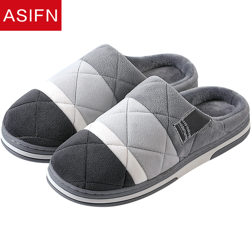 ASIFN New Cotton Slippers Men's Indoor Big Size Warm Men's Home Thick Bottom Non-slip Home Cotton Shoes Fur Women's Winter