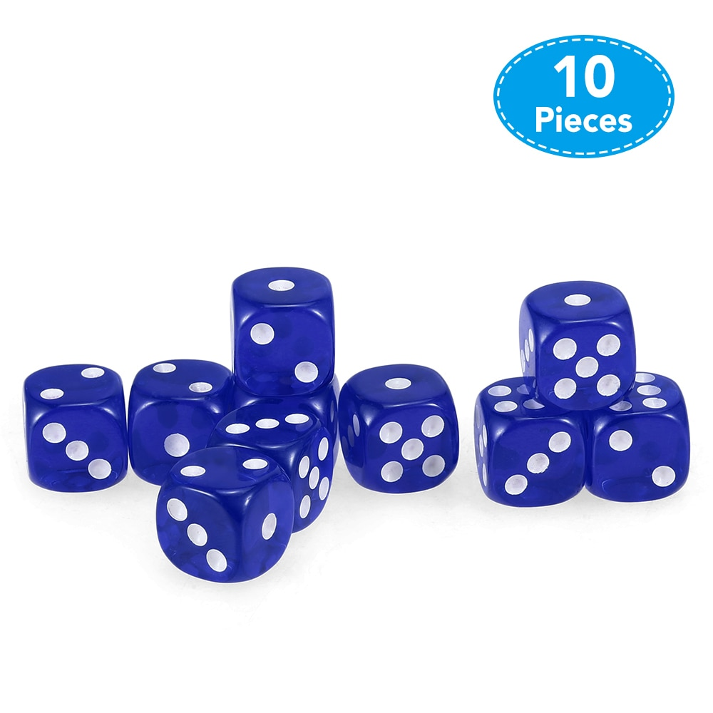 10 PCS 14MM Portable Table Games Dice Transparent Dice Acrylic Gambling Game Corner Board Game Dice For Party Gambling