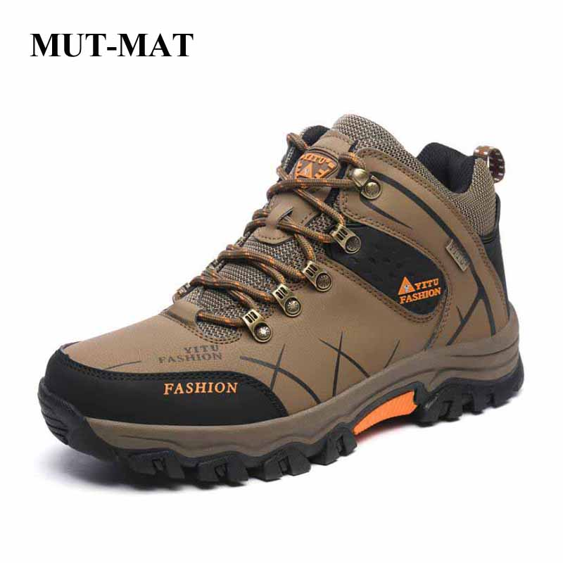 Plus Size Men's Shoes Winter Outdoor Hiking Shoes Men's High-top Walking Sneakers Plus Velvet Cotton Snow Boots Men's Footwear