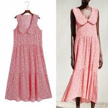 Tarf za 2021 vestido de verão rosa floral midi vestido mulher oversize plissado sem mangas vestidos casuais praia vestidos longos menina