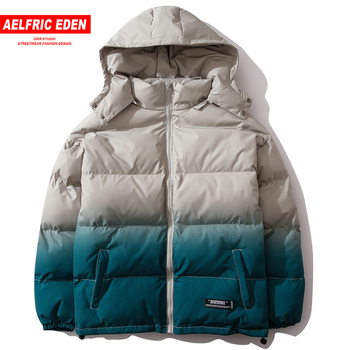 Aelfric Eden Hip Hop Gradient Color Men Thick Hooded Parkas Streetwear 2019 Casual Padded Jacket Harajuku Warm Male Windbreaker