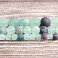LanLi Fashion natural Jewelry dull polish Fluorite Loose Beads 4/6/8/10mm DIY bracelet necklace Accessories