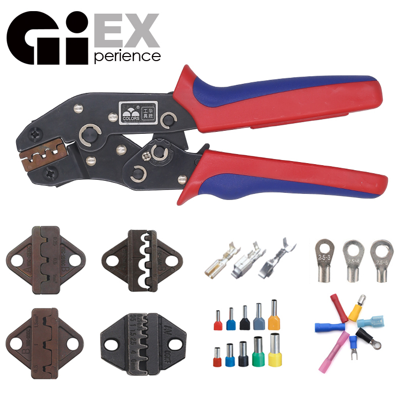 Crimping Tool  Ratcheting Wire Crimper Tool and Interchangeable Dies For Heat Shrink Connectors Non Insulated Ferrule Terminals-in Pliers from Tools