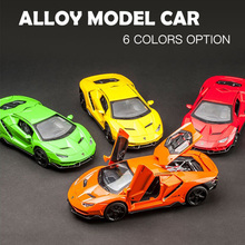 1:32 Scale Lamborghi LP770 Quattro Diecast Alloy Metal Luxury Car Model Pull Back Car For Children Toys With Collection new year gift lp770 upgrade package 1 18 metal model car collection toys luxury diecast decoration alloy metal static present