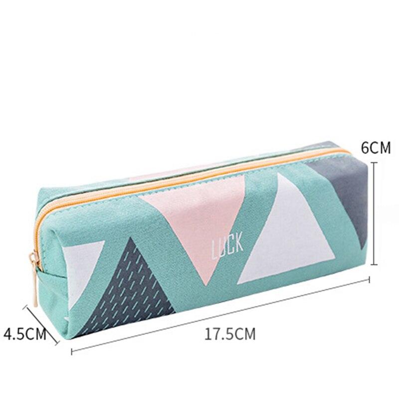 Купить с кэшбэком New School Pencil Case for Girls Boys Concise Solid Color Student Canvas Pencil Case Stationery Pencil Bag Box estojo escolar